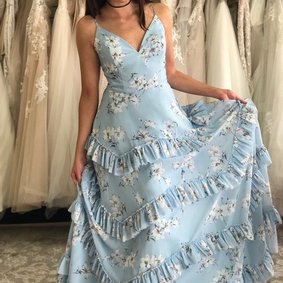 Light Blue Floral Prom Dress Ruffles Laceup Back